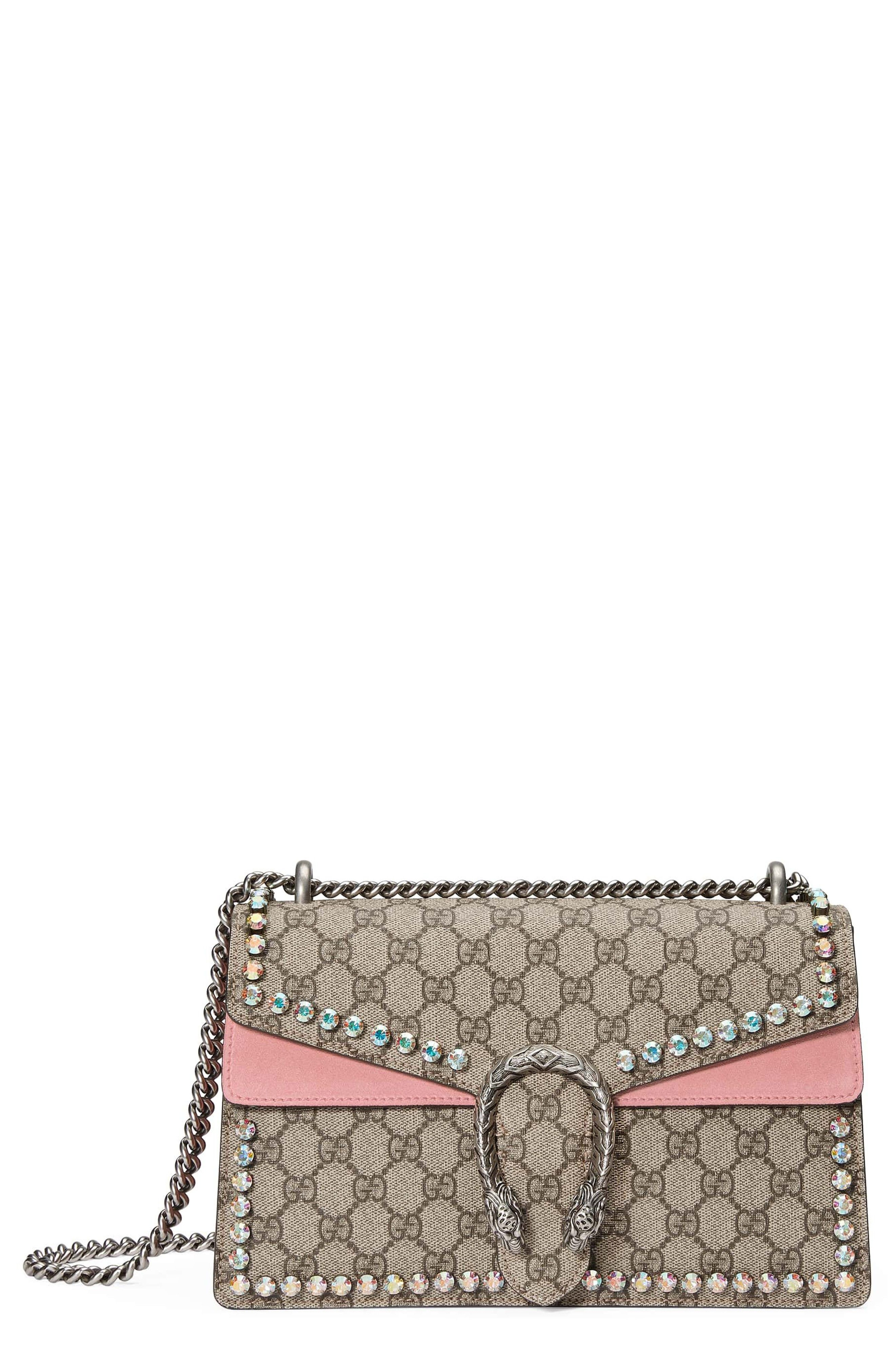 b7c4742b056c New GUCCI Small Dionysus Crystal Embellished GG Supreme Canvas Suede Shoulder  Bag online. Find the