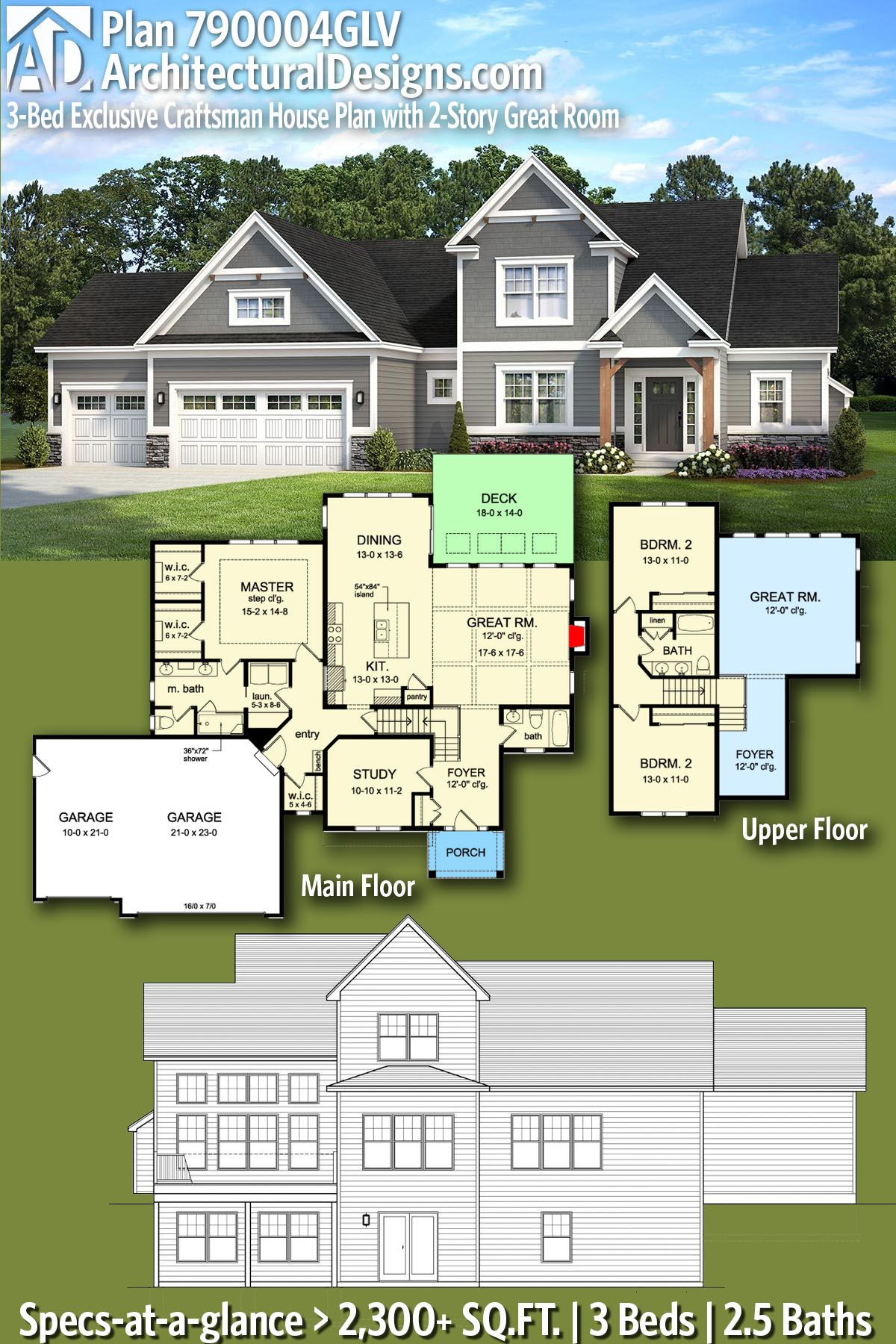 Plan 790004glv Exclusive Craftsman House Plan With 2 Story Great Room House Plans House Layouts House