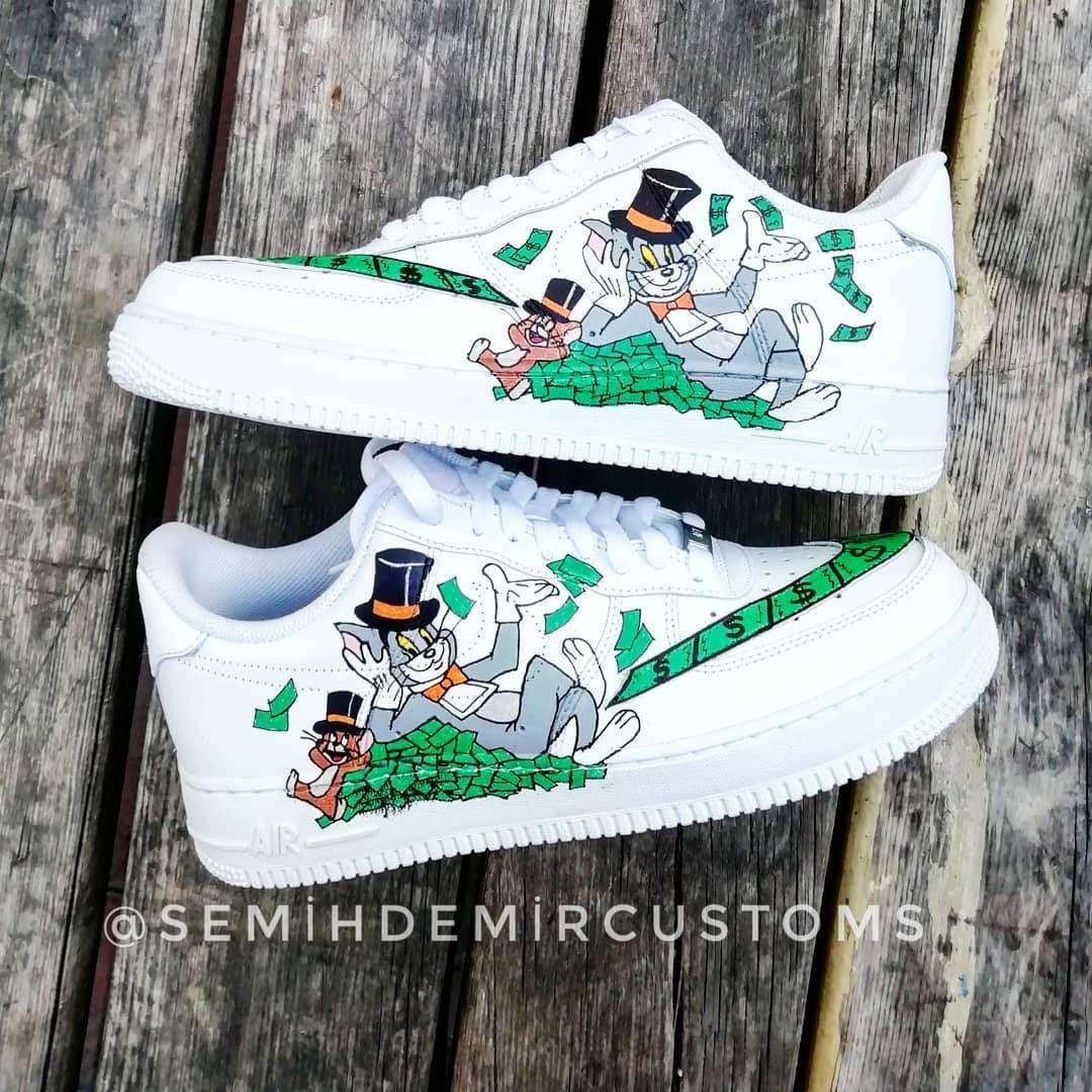 Custom Nike Air Force tom and jerry custom sneakers custom