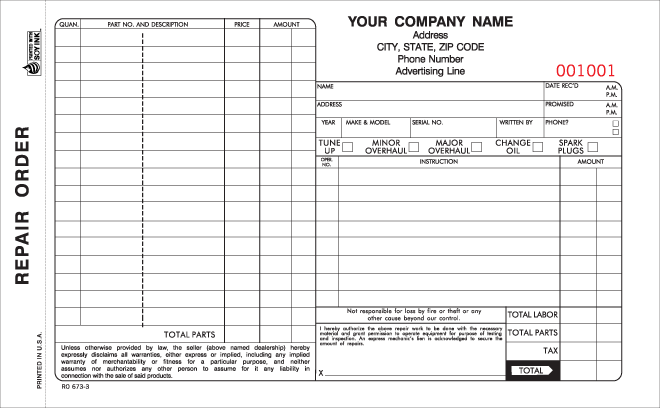 Part Auto Repair Order Forms With Carbon  Business Forms