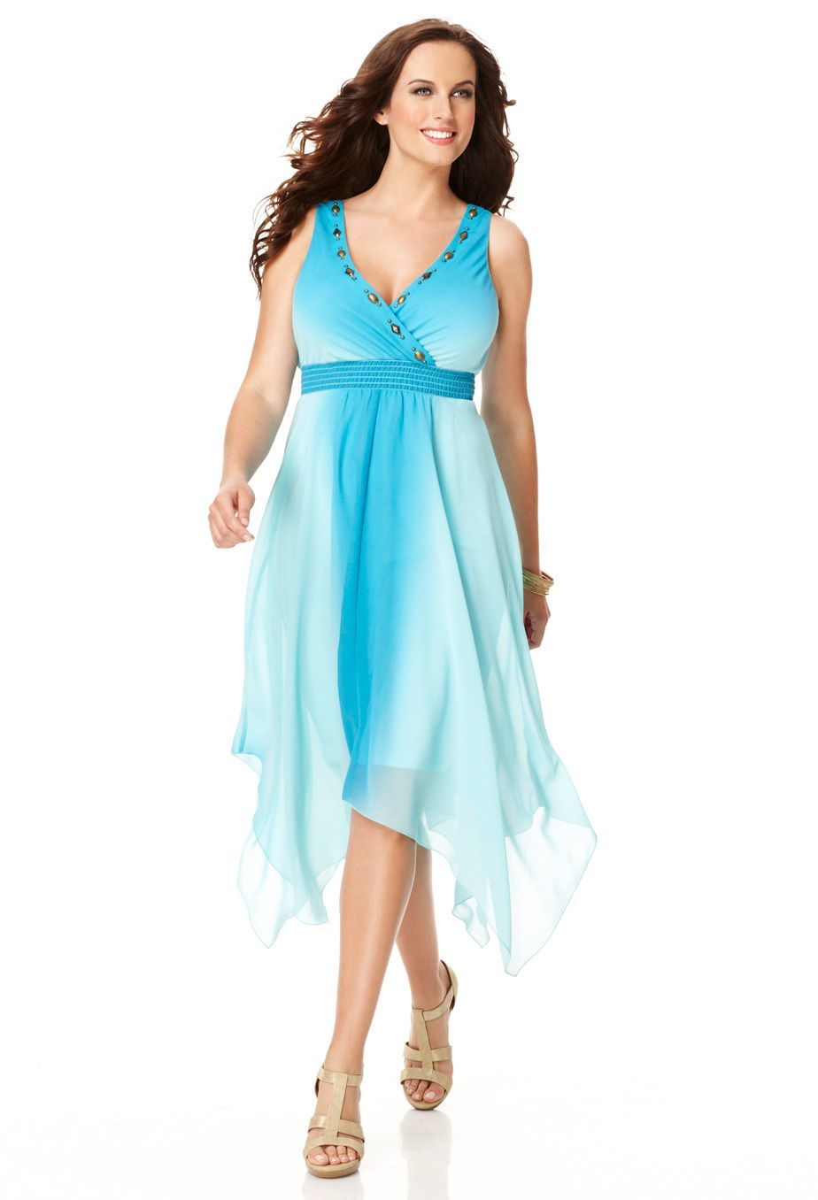 Plus Size Tie Dye Chiffon Handkerchief Hem Dress   Plus Size View ...