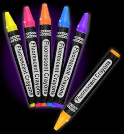 Jumbo Black Light Reactive Neon Color Crayons (6 pack) #12996 by BeWild. $11.24. The possibilities are endless when it comes to the fun you can have with our Black Light Reactive Neon Color Crayons. This pack comes complete with 6 of your favorite neon colors: Purple, Blue, Yellow, Orange, Fire Orange and Hot Pink. All colors are UV Reactive and glow bright under blacklight! The neon colors also look amazingly vibrant in regular light so you can use these jumbo size...