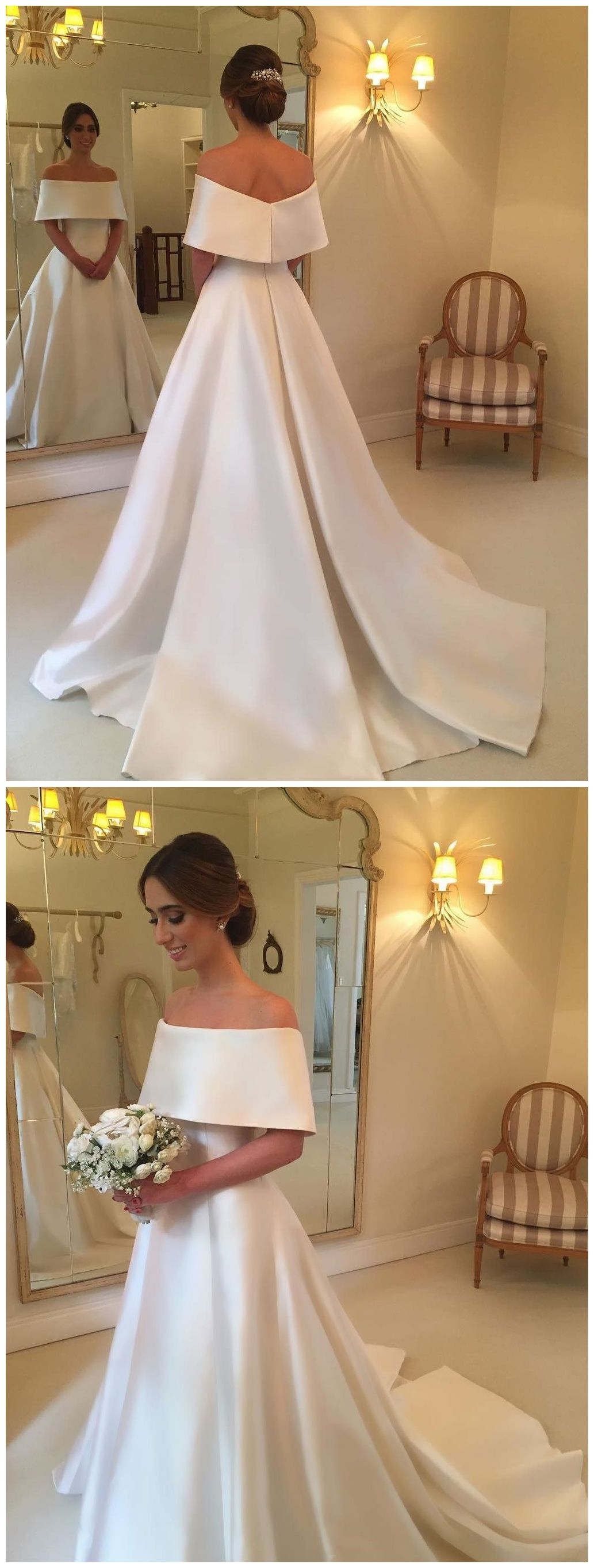Simple wedding dresses cheap  Aline Off the Shoulder Satin Cheap Simple Bridal Wedding Dresses