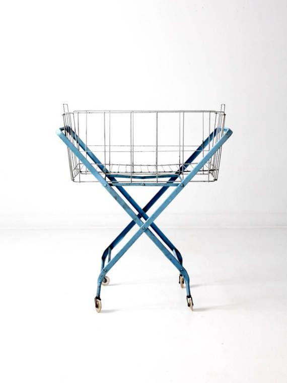 Vintage Laundry Cart Metal Folding Laundry Cart Blue Rolling