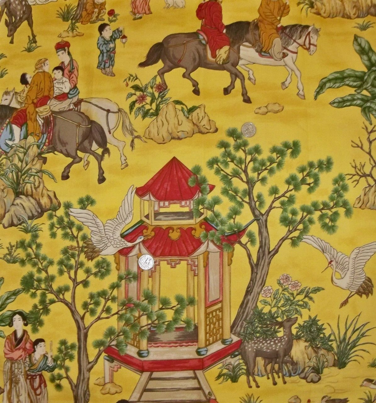 Designer chinoiserie asian toile fabric 10 yards goldenrod red green ...