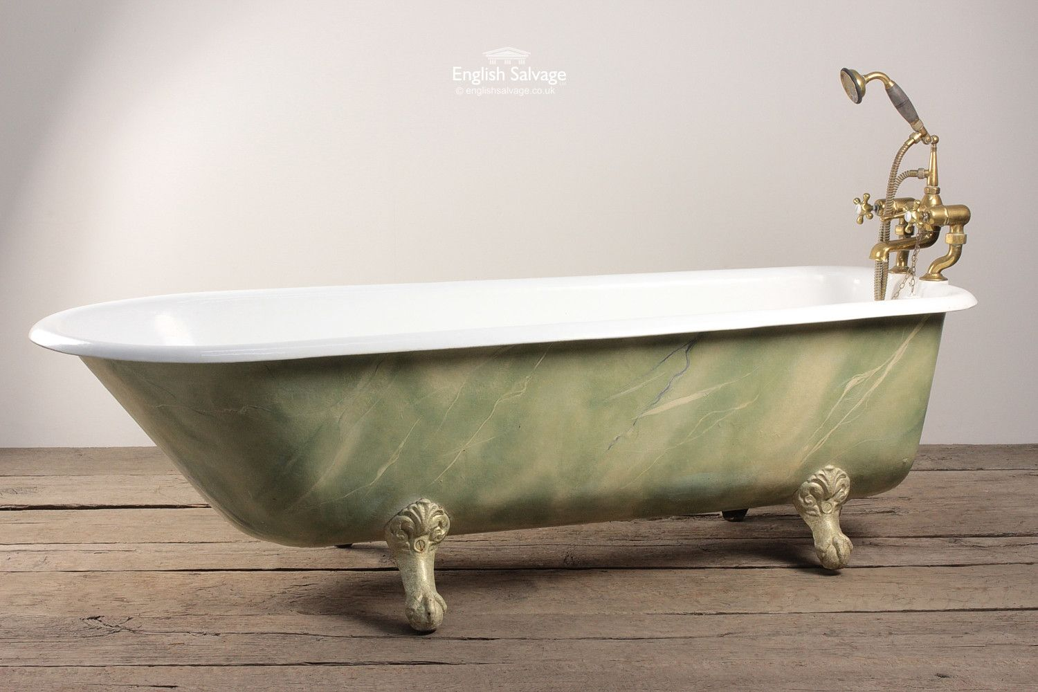Salvaged Green Enamel Roll Top Bath | Bathrooms, Belfasts and Taps ...