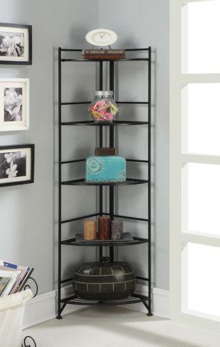 New Black Metal Corner Etagere 5 Shelf Folding Stand Home Decor Display Storage Corner Shelves Corner Bookshelves Corner Shelf Design