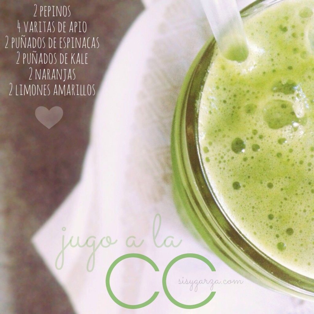 Jugo CC: Vitamina C. Pepino, apio, espinaca, kale, naranja y limón
