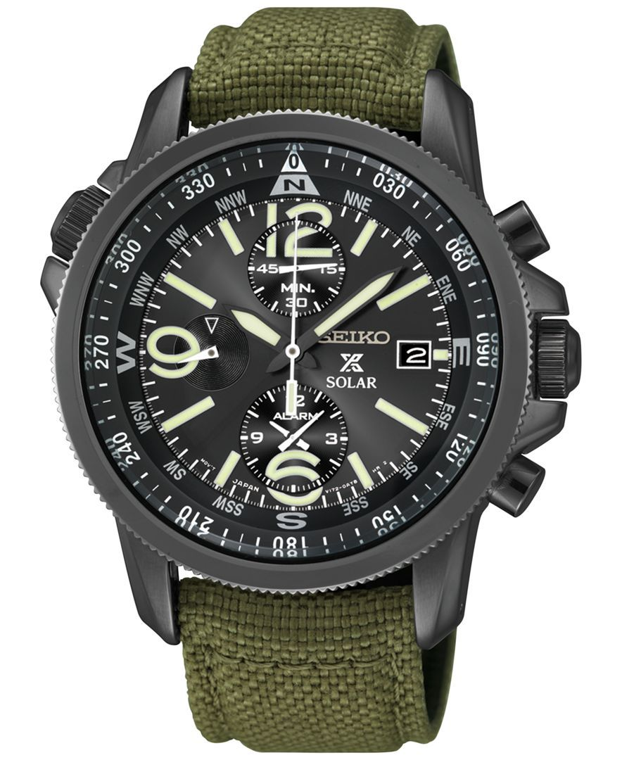 6c6a29143 Seiko Men's Prospex Solar Alarm Chronograph Green Nylon Strap Watch 42mm  SSC295. Find this Pin and more ...