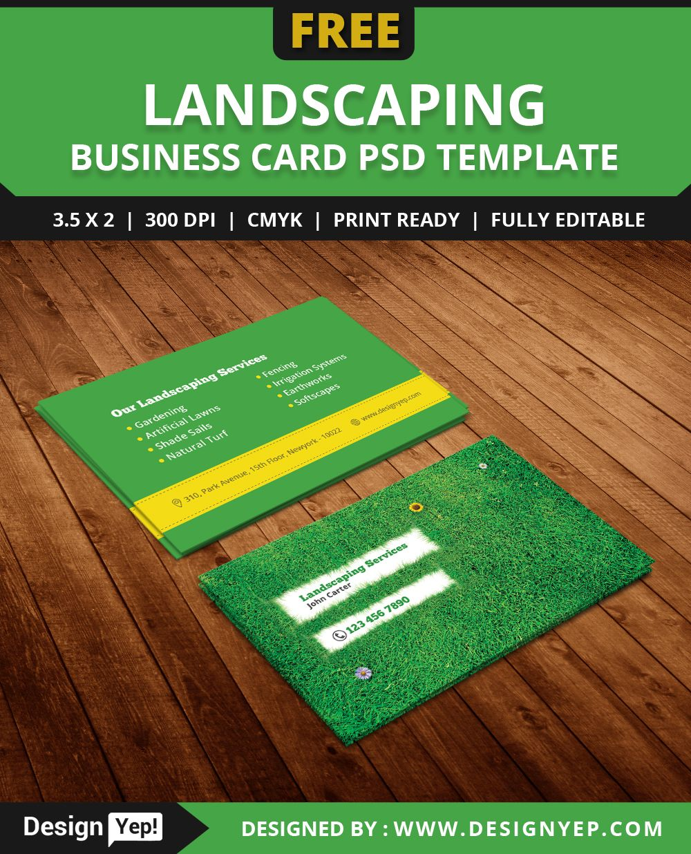 FreeLandscapingBusinessCardTemplatePSD Free Business Card - Landscaping business card template