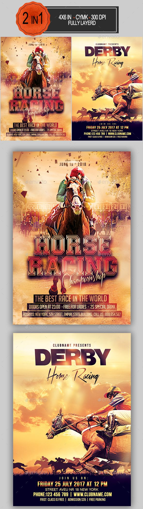 4x6 Flyer Free Horse Racing Bundle Template And