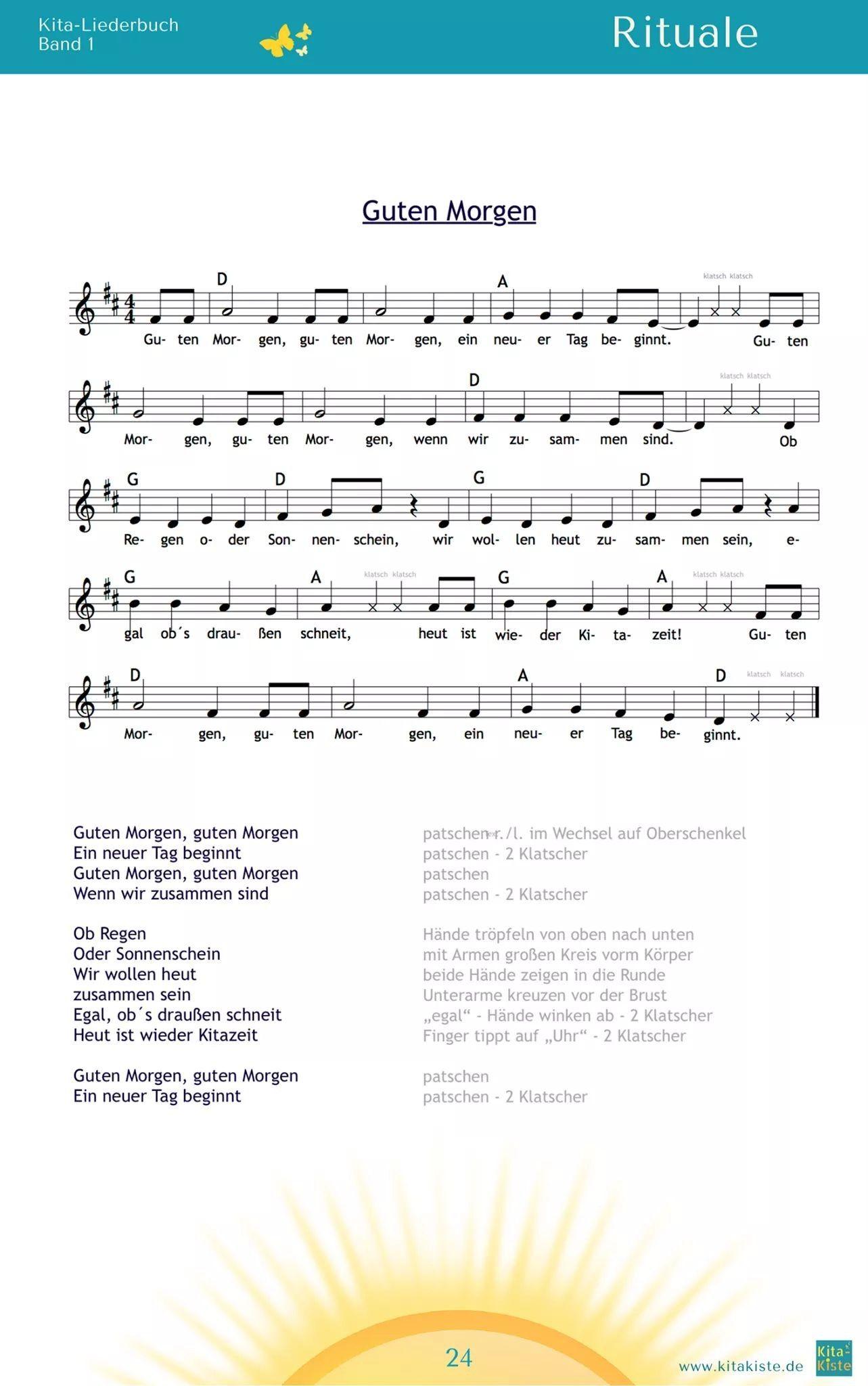 Lieder Rituale Lieder Begrüßungslied Kindergarten