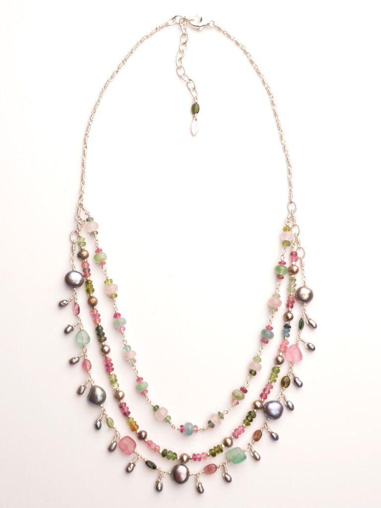 multi color Tourmaline BOHO short beaded necklace