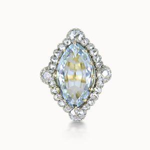 AQUAMARINE AND DIAMOND LOZENGE CLUSTER RING