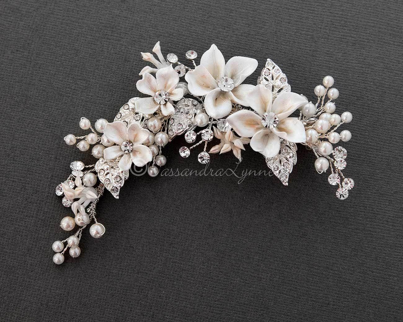 34ce75c12 Bridal Hair Flower Spray with Pearls   Bridal Headband   Bridal hair ...