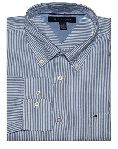 Tommy Hilfiger Men Long Sleeve Classic Fit Striped Logo Shirt (L, White/blue)
