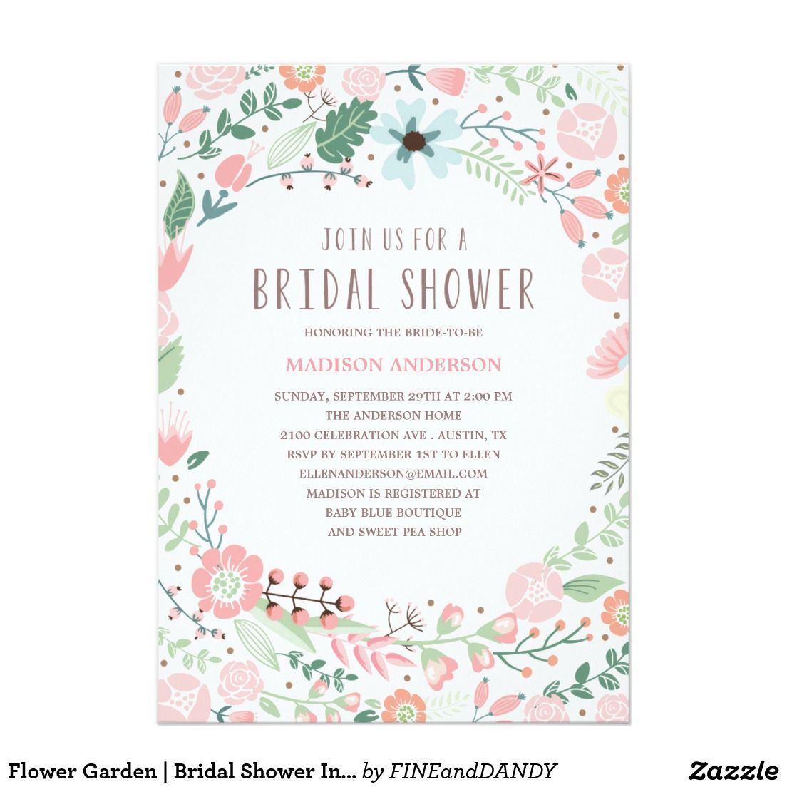 Flower Garden Bridal Shower Invitation Garden bridal showers
