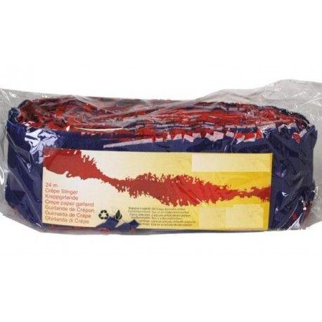Guirlande bleu blanc rouge papier crepon 24 Metres