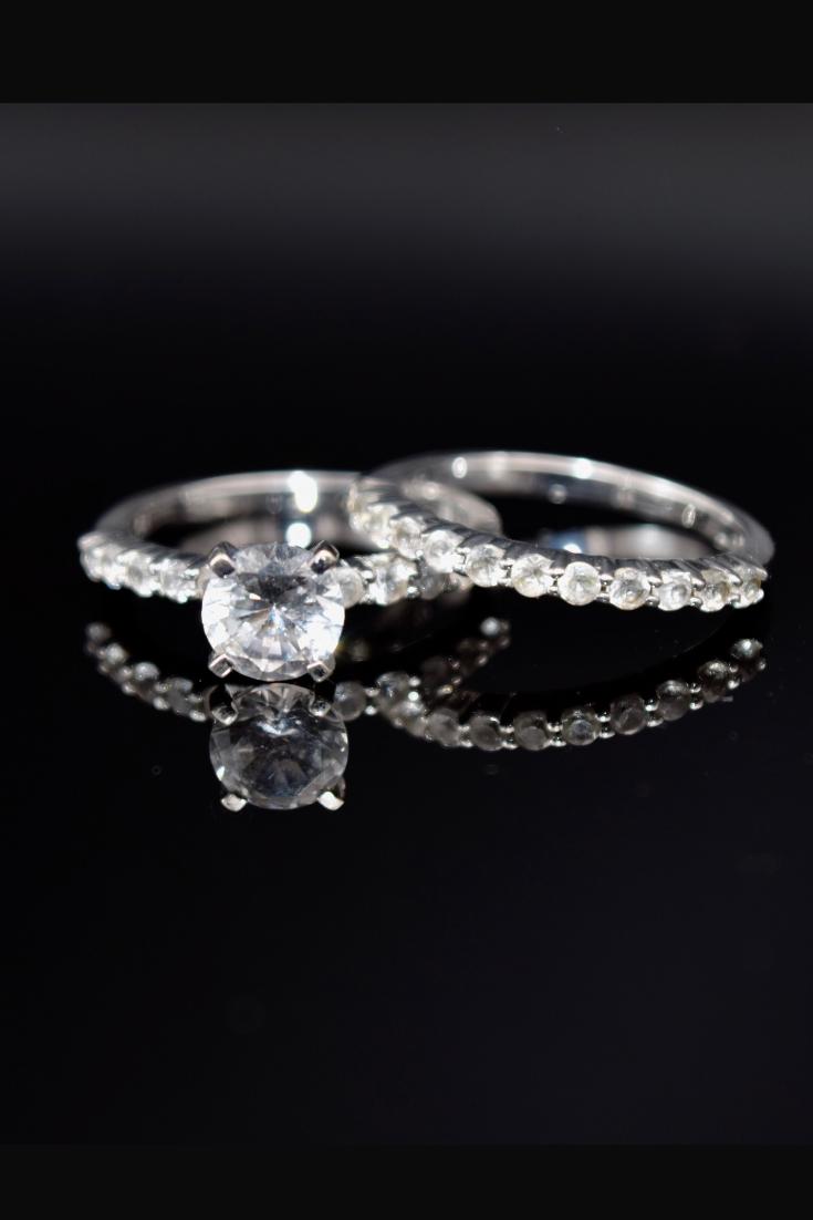 10k Gold Wedding Ring Set Cz Ring Stacking Ring White Gold Ring Size 7 Ring Wedding Ring Wedding Rings Sets Gold Buy Wedding Rings Wedding Rings