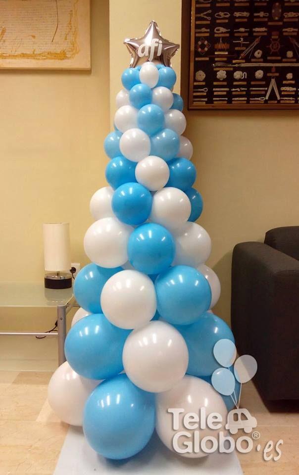 Rbol de navidad de globos personalizado para despacho afi for Decoracion de salon navideno