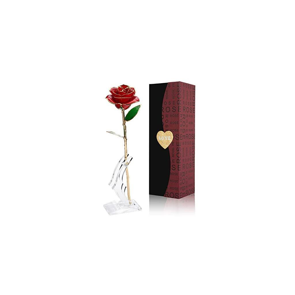 24K Gold Rose Flower/Gold Foil Artificial Forever Rose with Transparent Stand & Gift Box,Best Romantic Present Ideal for Her on Valentines Day, Mothers Day, Anniversary, Birthday ,Christmas,Decoration  24K Gold Rose Flower/Gold Foil Artificial Forever Rose with Transparent Stand & Gift BoxBest Romant #24K #anniversary #Artificial #Birthday #BoxBest #ChristmasDecoration #Day #FlowerGold #foil #Gift #gold #Ideal #Mothers #Present #Romantic #Rose #Stand #Transparent #Valentines