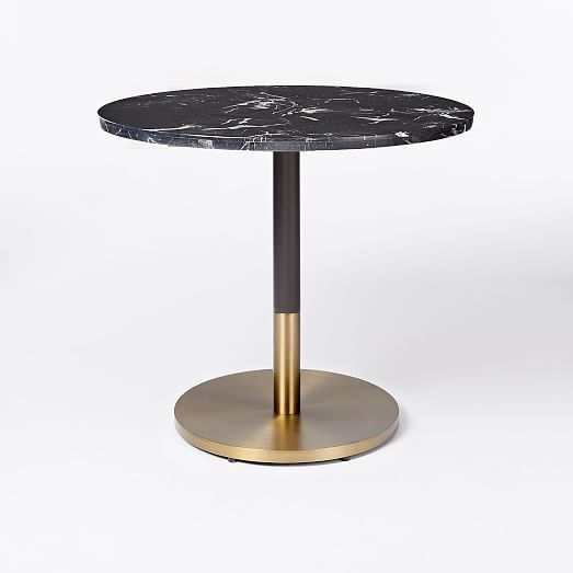 Black Marble Round Bistro Table Branch Base Dining Table