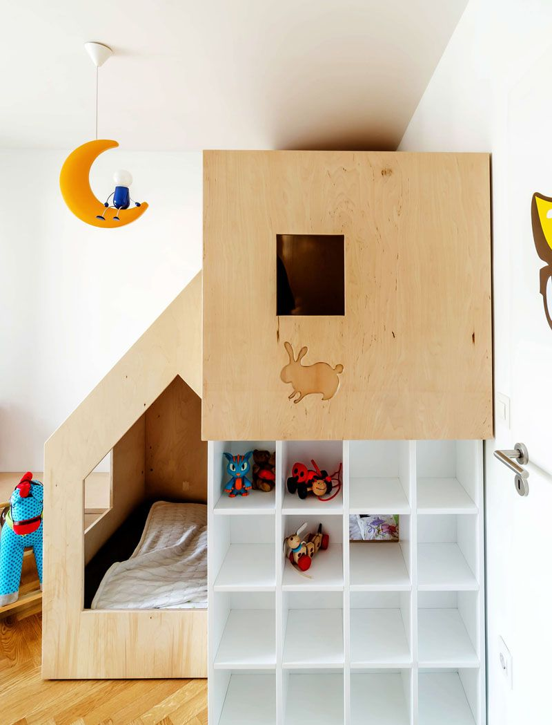 Plywood loft bed plans  A Custom Bunk Bed Tucks Neatly Into This Small Kids Room  DESIGN