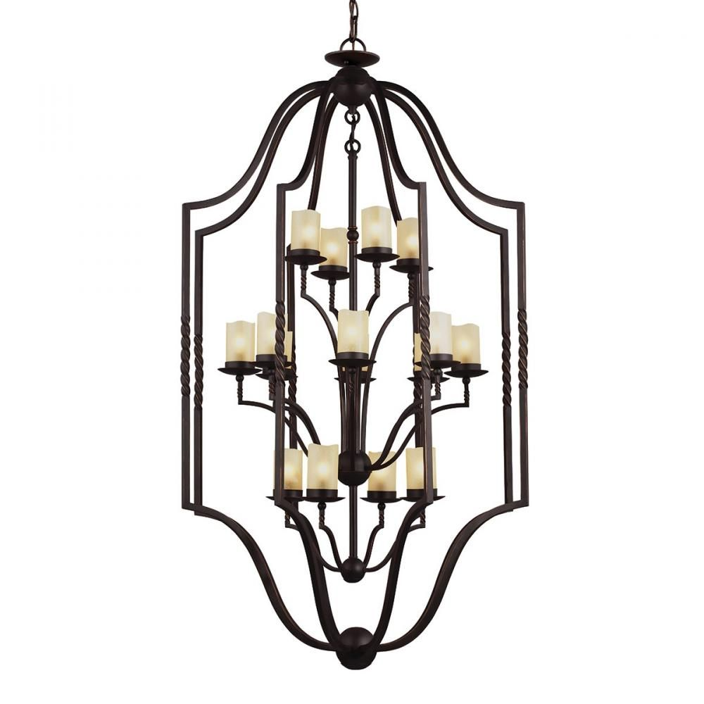 Trempealeau Sixteen Light Hall / Foyer in Roman Bronze with Champagne Seeded Glass : 9K9PQ | Legend Lighting Inc.