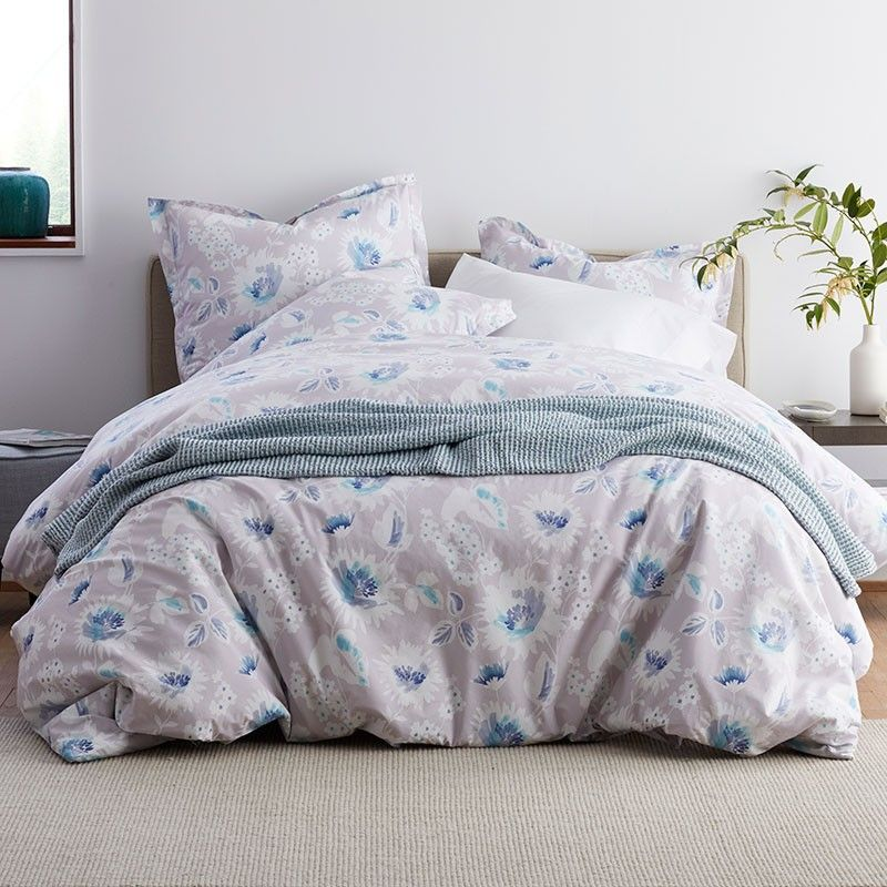 Dana floral garmentwashed organic percale bedding duvet