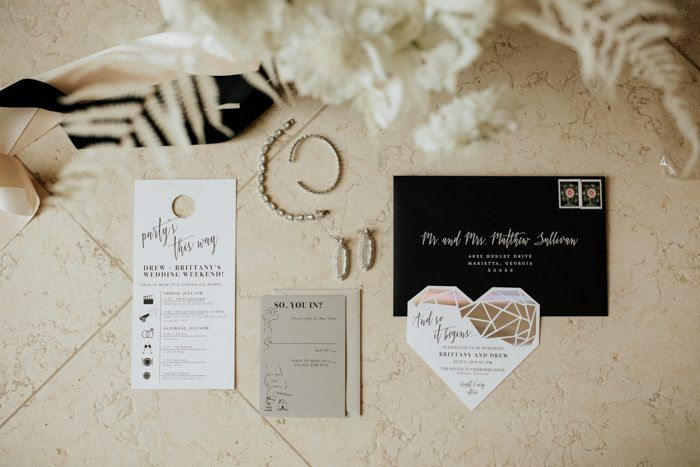 Cozy Meets Classic in This Black and White Estate at Cherokee Dock Wedding  wedding invites