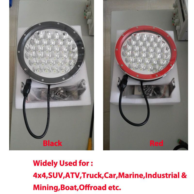 Black red 9 inch round led driving light 150w spot light with black red 9 inch round led driving light 150w spot light with cover fit 4x4 sciox Choice Image