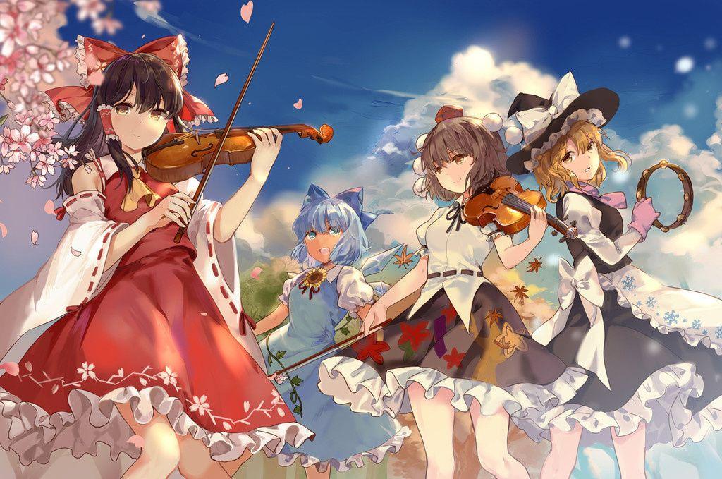 Violin Play Anime Girls Touhou Wallpaper