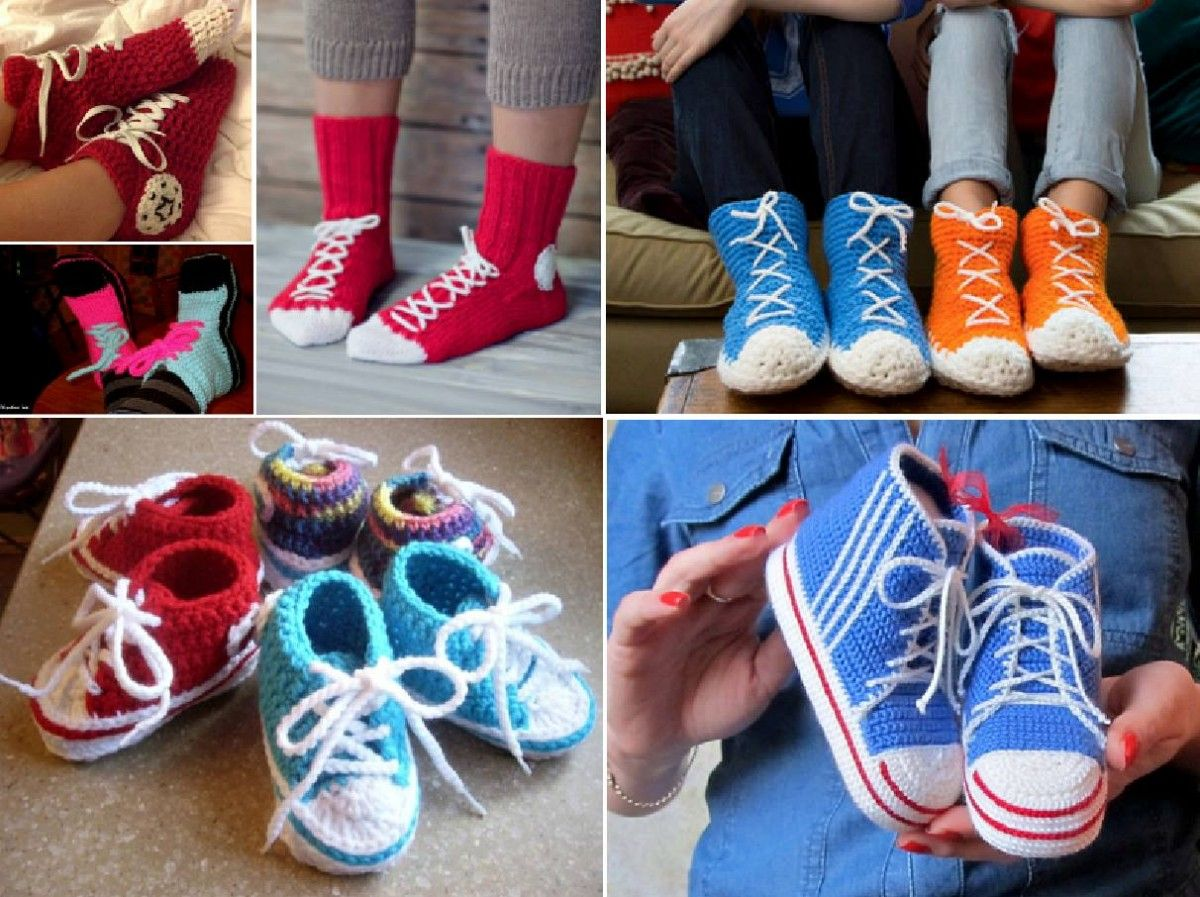 bd08268ab498e9 Converse Slippers Free Crochet Patterns