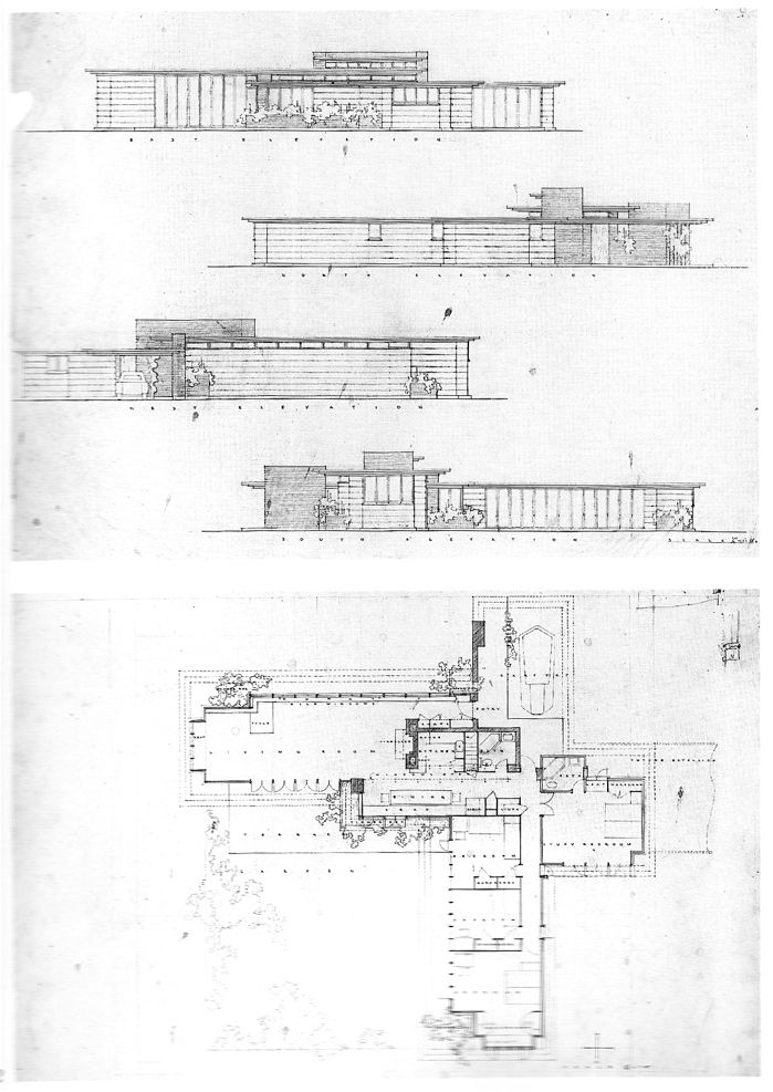 plan and elevations. herbert jacobs house i. madison, wisconsin
