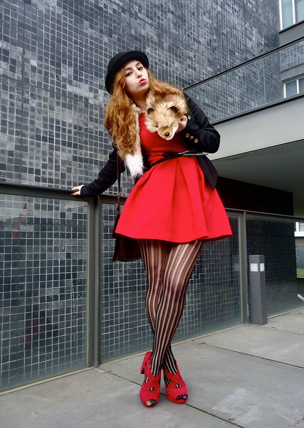 Vertical Patterned Black Lace Pantyhose With Red Heels And Dress Hat Red And Black Outfits Fashion Lace Tights [ 1408 x 1000 Pixel ]