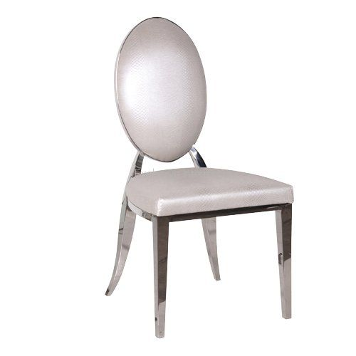 White Oval Back Chrome Frame Dining Chair H93 X W49 X D54cm Exi0442 265 49 Exclusive Interio Metal Dining Chairs High Back Dining Chairs Dining Chairs
