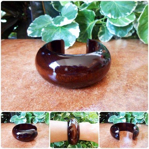 Glossy Brown Wood Bangle Bracelet Eco-friendly Natural Jewelry | GoldenWorld - Jewelry on ArtFire