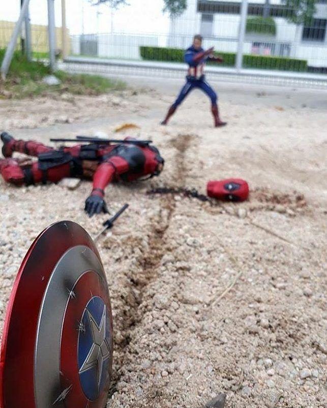 captain America vs Deadpool Deadpool fan art, Deadpool