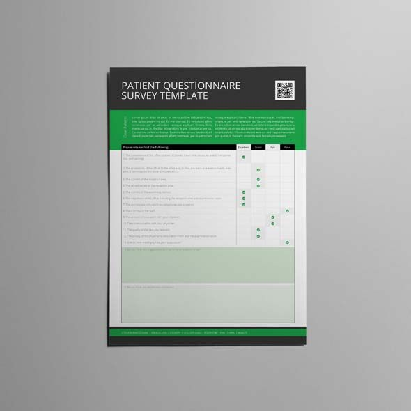 Patient Questionnaire Survey Template CMYK \ Print Ready Clean - survey form template