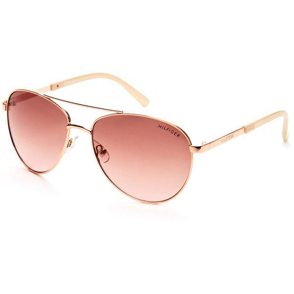 e8304de1a8efe Tommy Hilfiger Rose Gold-Tone Lindsay Aviator Sunglasses ( 20) ❤ liked on  Polyvore featuring accessories