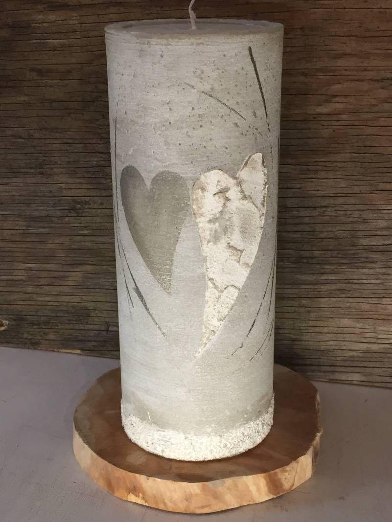 Hochzeitskerze Modern Mit Acryl Bemalt Herzen Strukturkerze