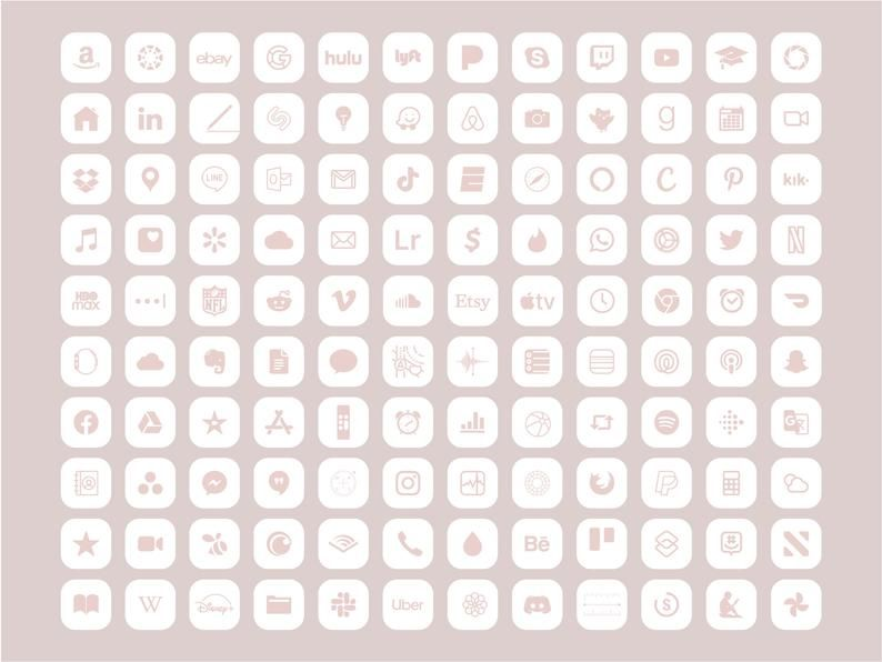 IPhone iOS 14 App icons Theme Pack, 240 Soft Pink