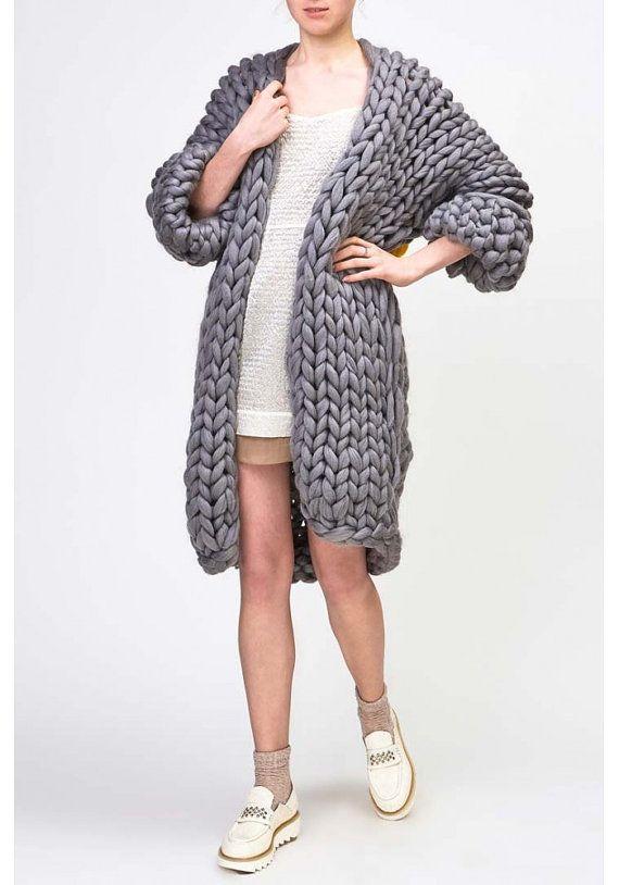 Oversized Wollen Trui.Chunky Knit Cardigan Big Yarn Sweater Chunky Knitting Bulky Wool