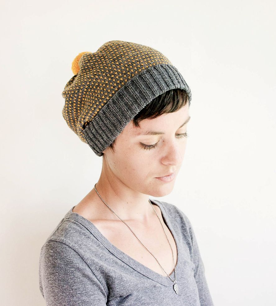 07016a039896d Dotted Wool Pom Pom Beanie Hat. Beanies with short hair are the cutest.  Love the bang showing enough to be chic and not too much to get in your  face.