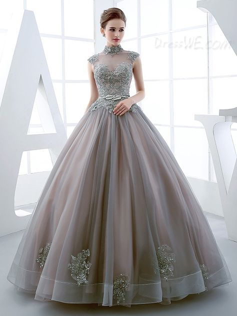 176041cc08a Buy Vintage Luxurious High Neck Applique Beaded Ball Quinceanera Gown  Online