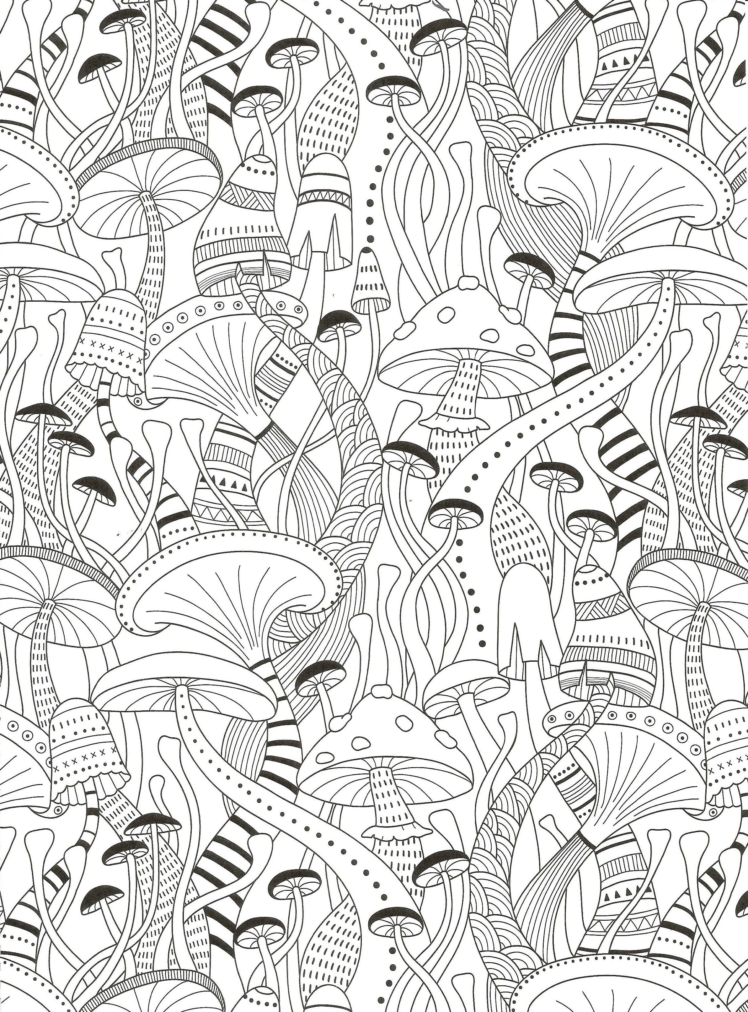 Ausmalbilder Pilze Herbst : Mushrooms Coloring Page For Adults Crafting Style Crafts