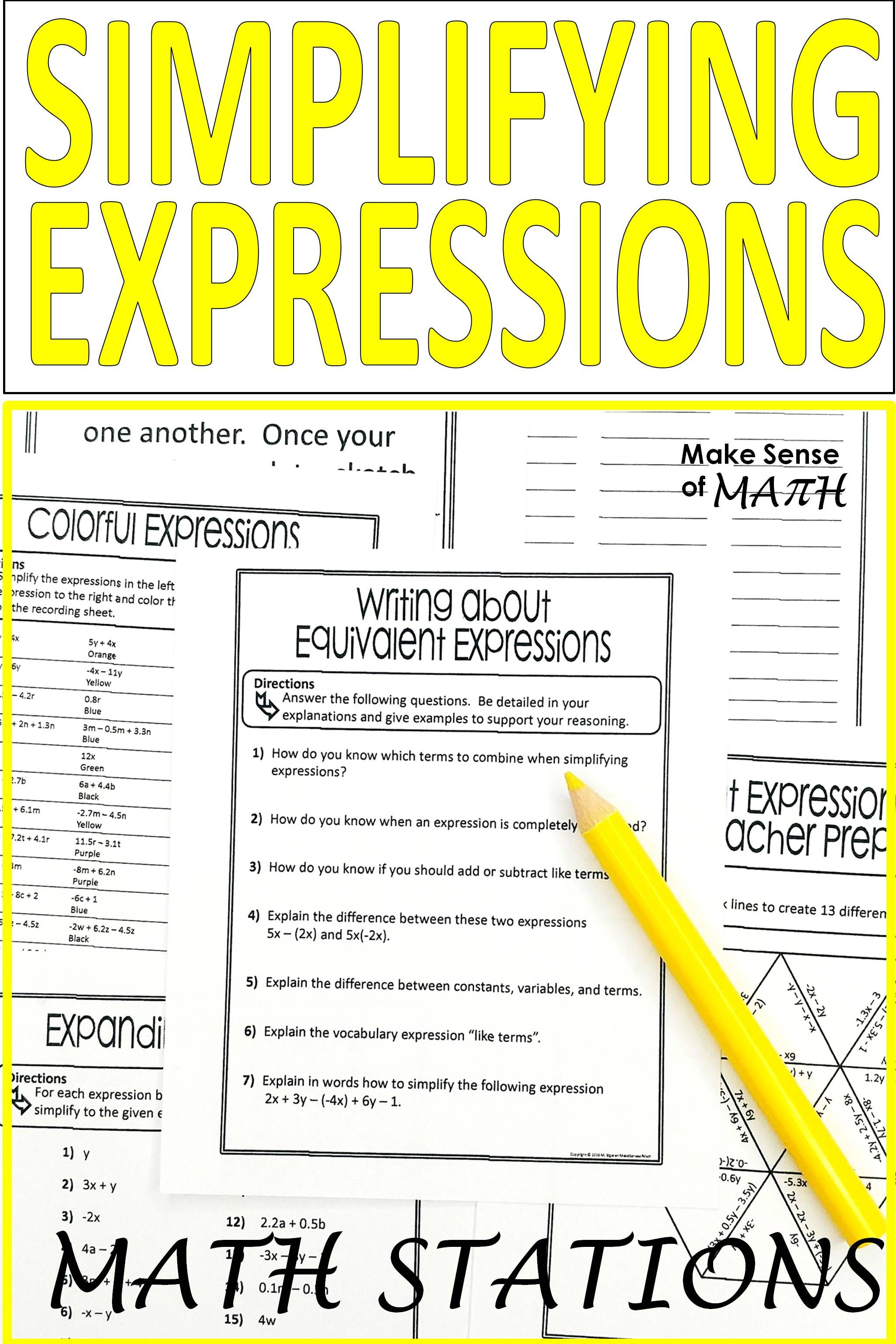 Equivalent Expressions Combining Like Terms Stations