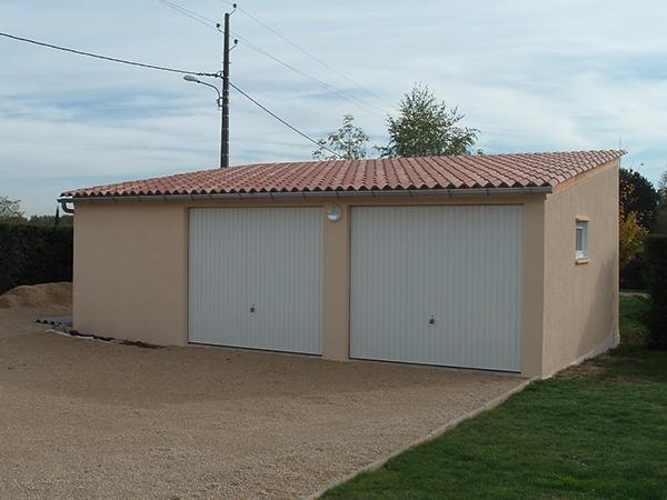 Garage Double Espace Rangement 1 Pente Avant En Poteaux Et Plaques Beton Arme Industrialise Enduit Traditionnel En Jardin En Beton Abri De Jardin Garage