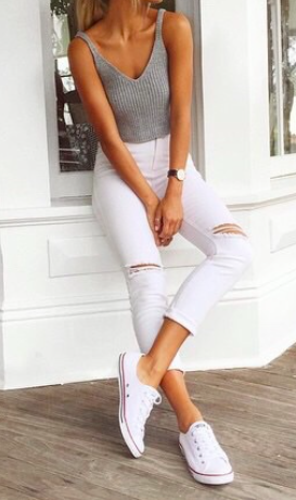 White distressed cropped jeans + grey knit tank + white converse sneakers