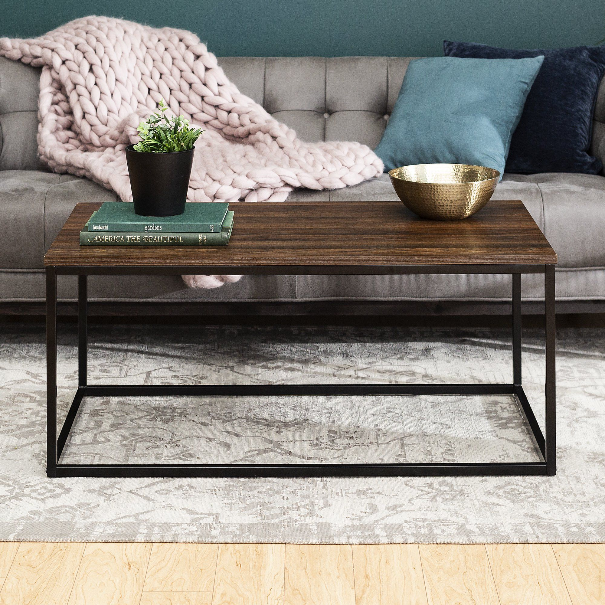 Transitional Dark Walnut Mixed Material Coffee Table By Manor Park Walmart Com In 2021 Coffee Table Table Decor Living Room Coffee Table For Small Living Room [ 2000 x 2000 Pixel ]